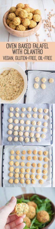 Vegan Oil-Free Oven Baked Falafel with Cilantro| ElephantasticVegan.com