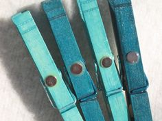 SNOW-COVERED TREES teal hand painted magnetic clothespin set