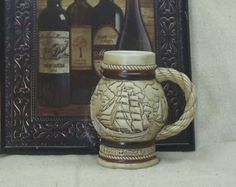 Check out Avon Collectible 1982 Mini Stein, Handcrafted in Brazil, Wharf Scene w/Many Ships,#VB7061 on ckdesignsforyou