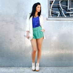 So cute- Love the color blocking+SHORTS<3