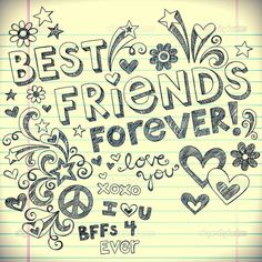 BEst Friends Forever BFF Back to School Sketchy Doodles Vector Best Friend Drawings, Bff Drawings, Bffs, Best Friends Forever, My Best Friend, Best Frends, Notebook Doodles, Friendship Images, Doodle Designs