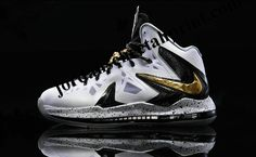half off 492a9 6405a Nike LeBron 10 P.S Elite White Metallic Gold Black Shoes are cheap sale  online. The lebron 10 ps elite shoes will be your best choice.
