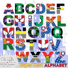SUPERHERO ALPHABET LETTERS Wonder Woman by DigitalPackages