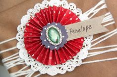 Paper Rosette Gift Name Tags Christmas Campaign, Paper Rosettes, Gift Packaging, Packaging Ideas, Name Tags, Some Fun, Scrapbook Paper, Embellishments, Crochet Earrings