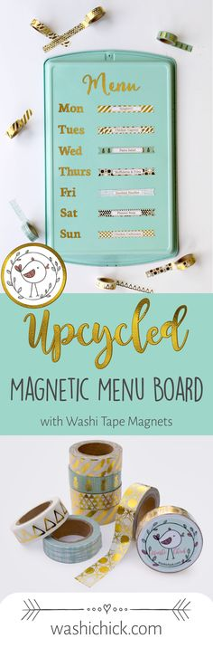 Upcycled Magnetic Menu. Made with Cookie Sheet and Washi Tape Magnets. Easy Weekly Meal Plan