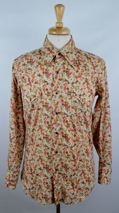 Vintage Wrangler Long Tails Mens 15.5 33 Floral LS Pearl Snap Rockabilly Shirt