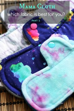 Cloth pads let you breathe better, they're prettier, & more fun. There are many mama cloth fabric choices to choose from; find the best one(s) for you. Sewing Crafts, Sewing Projects, Sewing Ideas, Sewing Tutorials, Period Pads, Period Kit, Feminine Pads, Reusable Menstrual Pads, Mama Cloth