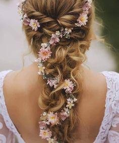 hair vine wedding half up ; hair vine wedding updo with veil ; Bridal Hair Up, Wedding Hair Flowers, Wedding Hair And Makeup, Flowers In Hair, Hair Wedding, Wedding Blog, Plum Wedding, Whimsical Wedding Hair, Hippie Wedding Hair