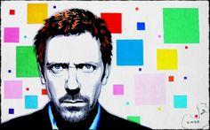 Hugh Laurie, posca, crayons, aquarelle.