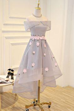 Gray applique high low prom dress, gray evening dress, cute homecoming dress