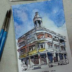Day 06 - Batu Pahat Old Town  #ramadhansketchchallenge2015 #johorsketchers #klsketchnation #archilovers #sketch | por Hafizal_Nordin