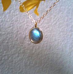 Vermeil Bezel Labradorite Pendant & Gold Filled by PiecesByEmily, $34.00