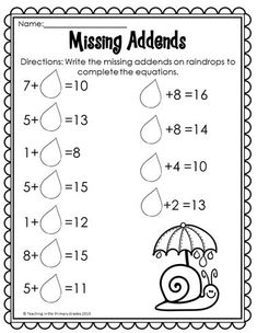 No Prep Spring Printables - First graders will love reviewing math and literacy concepts with these fun math and literacy printables. They review concepts such as missing addends and more! First Grade Science, First Grade Writing, First Grade Activities, Teaching First Grade, Teaching Math, Math Activities, Teaching Ideas, Math Fact Fluency, Math Facts
