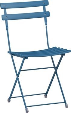 Pronto Blue Folding Bistro Chair  | Crate and Barrel $60 in green, blue, white