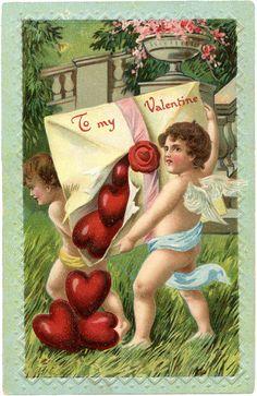Vintage Cupids Valentine - Graphics Fairy