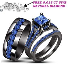 Blue Sapphire Trio Wedding Ring His Hers Bands Set And 10K Black Gold