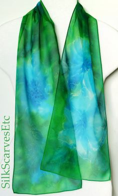 Silk scarf. Hand painted silk chiffon scarf with by SilkScarvesEtc, $50.00