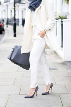 Winter white with grey accessories.