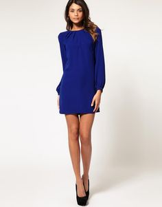 ASOS | ASOS Shift Dress with Pleated Neck at ASOS