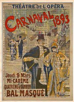 Carnaval Masquerade - 1893, vintage opera art, Theatre sign, vintage dictionary art print .