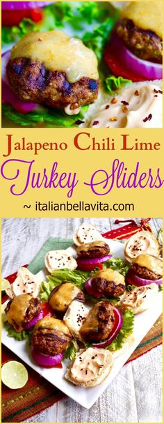 Jalapeno Cilantro Lime Turkey Sliders with Habanero Cheddar from La Bella Vita Cucina. Perfectly spiced, healthy turkey burgers topped with habanero cheddar Jalapeno Chili, Chili Lime, Jalapeno Sauce, Grilled Turkey Burgers, Beef Burgers, Veggie Burgers, Turkey Sliders, Cilantro Lime Sauce, Turkey Recipes