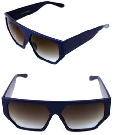 00008130e6 Men s Women s Large Square Retro Vintage Sunglasses Navy Blue Frame 80 s  Hip Hop  Unbranded