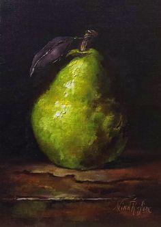 Oil Painting Green Pear Nina R.Aide Original by NinaRAideStudio
