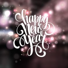 Happy New Year background with   lettering design vector art illustration