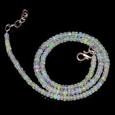 """39CRTS 3.5to4.5MM 18"""" ETHIOPIAN OPAL FACETED RONDELLE BEADS NECKLACE OBI2142 #OPALBEADSINDIA"""