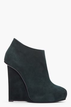 Suede wedge booties in green