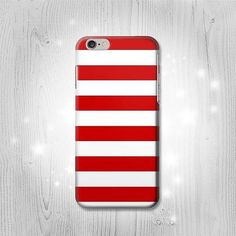 Red and White Striped iPhone 6S 6 Plus 6 5 5S 5C 4 by Lantadesign