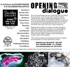 "TONIGHT @stonemalonegallery is proud to present ""OPENING A DIALOGUE - GUNS FOR ART"" a collaborative solo exhibition featuring all new work by famed mixed media artist Richard Ransier along with special guests: Alex Garant Bar Ben-Vakil Daniel Cohen DocPhoton Estevan Ramos Gianni Arone Ming Ong Leba Lucas Raynaud Phenomenal Mark Plastic Jesus Stone Malone ThatSoDope TheGossipAndTheChoir & Tricia DiMarco ________________________________________________________ Opening Reception Saturday April…"