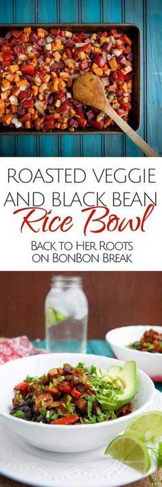 roasted veggie and black bean rice bowl
