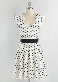 The Story of Citrus Dress in White - White, Black, Casual, A-line, Cap Sleeves, Good, Polka Dots, Variation, Knit, Mid-length, Top Rated