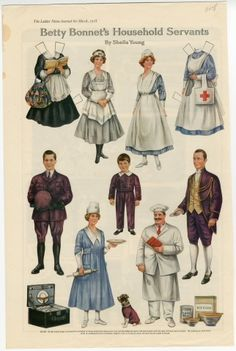 Betty Bonnet's Household Servants paper doll 1918 Artist : Sheila Young