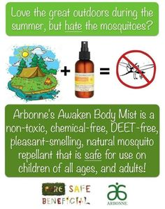 """This is amazing! I finally found a bug spray that works and smells great! Added bonus it's good for your skin and not full of harsh chemicals. Love the skin you're in.  """"Like"""" my FB page at Surshae Arbonne Independent Consultant. Consultant ID: 21565488"""