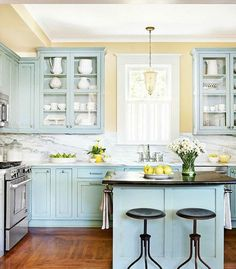 Uplifting Kitchen Remodeling Choosing Your New Kitchen Cabinets Ideas. Delightful Kitchen Remodeling Choosing Your New Kitchen Cabinets Ideas. Kitchen Cabinet Colors, Kitchen Redo, New Kitchen, Kitchen Yellow, Happy Kitchen, Kitchen Island, Kitchen Paint, Kitchen Rustic, Blue Kitchen Ideas