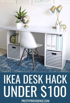 This IKEA hack desk is easy to make with a cheap IKEA desk top and two cube organizer shelves. It's perfect for a home office or craft room! #ikeahack #diy #desk #ikeadeskhack #ikeahackdesk #diydesk #cheapdesk #homeoffice #organization #easydiyproject #easydiy #diyfurniture #ikea #hack #cheap #home #homedecor #officeinspo #deskideas #workfromhome #virtuallearning #elearning #wahm #homeoffice #easydesk #desktutorial #craftroom #craftdesk #craftroominspo Cheap Desk, Ikea Hack, Guest Room Office, Cube Storage Shelves, Ikea, Cheap Ikea Desk, Diy Home Decor, Diy Furniture, Desk