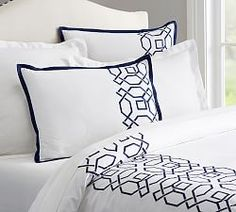 Hollis Embroidered Duvet Cover and Sham | Pottery Barn