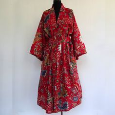 kimono robe de chambre rouge et multicolore à dessins pailsley : Autres mode par akkacreation