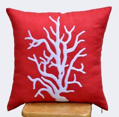 Reef Embroidered Decorative  Pillow Cover, Red Orange throw pillow cover 18 x 18, White nautical reef pillow cases, Cushion Cover $24 Etsy