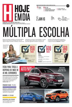 Capa do dia 02/01/2016 #HojeEmDia #Jornal #Notícias #News #Newspaper