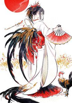 Kimono/Yukata with feathers