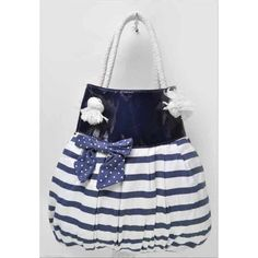 Cotton Nautical Striped Bowknot Beach Bag