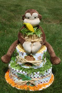 Jungle Baby diaper cake. $95.00, via Etsy.