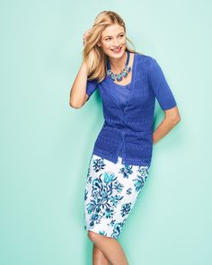 Summer office-wear made easy with blue hues and floral patterns.