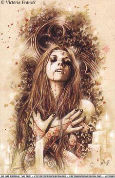 """Victoria Francés. Favole 1. Lágrimas de piedra. """"Mas ya no se esconde entre las perlas de cientos de máscaras de alargadas narices. Ahora corre valiente entre la maleza de los bosques veroneses y juega a enterrarse bajo las hojas para soñar con cuentos de hadas."""""""