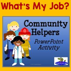Your students will love this fun and interactive community helpers game. This is a PowerPoint game of Who Am I. Students get three clues to guess the job of the community helper. There are 14 different workers represented. Students have to figure out who it is from clues about where they work, what they wear, what vehicles they drive, and what tools they use.