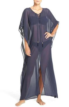 Tommy Bahama Lace-Up Chiffon Caftan