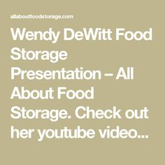Wendy Dewitt You Pinterest Food Storage Emergency And